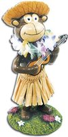 Monkey with Straw Hat Miniature Dashboard Hula Doll