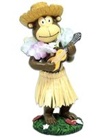 KC Hawaii Monkey with Straw Hat Mini Dashboard Doll