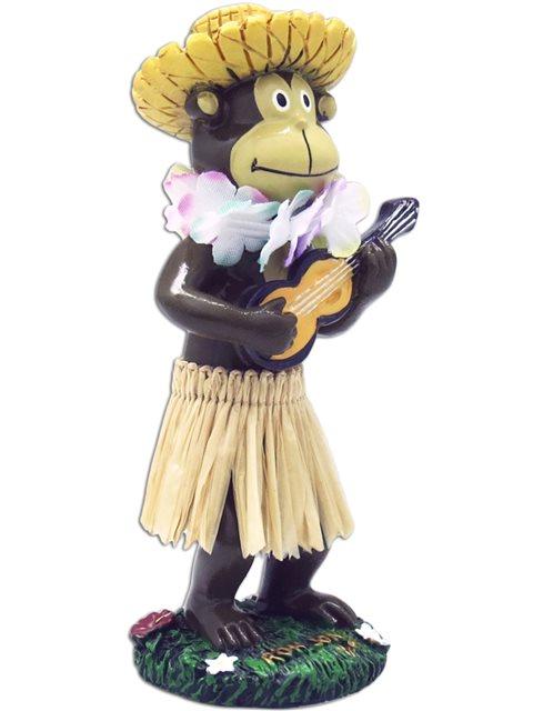 Miniature Dashboard Hula Doll Monkey w// Straw Hat