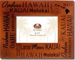 Hawaiian Islands Screened Wood Photo Frame