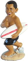 Holding Surfboard Dashboard Obama Doll