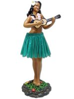 Girl with Ukulele/Green Skirt Leilani Dashboard Hula Doll