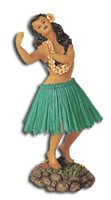 Dancing Pose/Green Skirt Leilani Dashboard Hula Doll