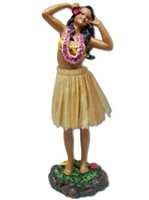 Girl with 2 Hands on Head/Natural Skirt Leilani Dashboard Hula Doll