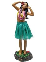 Girl with 2 Hands on Head/Green Skirt Leilani Dashboard Hula Doll