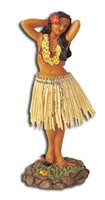 Flower Placing Pose/Natural Skirt Leilani Dashboard Hula Doll