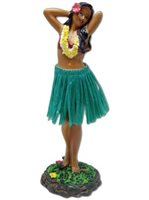 Flower Placing Pose/Green Skirt Leilani Dashboard Hula Doll