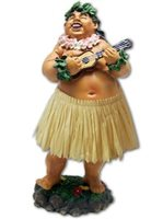 KC Hawaii Local Boy with Ukulele Natural Skirt Leilani Dashboard Doll