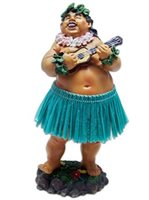 KC Hawaii Local Boy with Ukulele Green Skirt Leilani Dashboard Doll