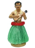 KC Hawaii Hula Man w/ Ukulele Assorted Colored Skirt  Dashboard Hula Doll