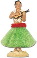 KC Hawaii Hula Man w/ Ukulele Green Skirt  Dashboard Hula Doll