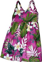 Pacific Legend Plumeria & Monstera Pink Cotton Toddlers Hawaiian Bungee Dress