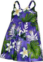 Pacific Legend Plumeria & Monstera Purple Cotton Toddlers Hawaiian Bungee Dress
