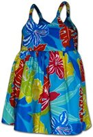 Pacific Legend Hibiscus Turquoise Cotton Toddlers Hawaiian Bungee Dress