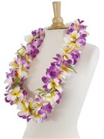 Purple & White Plumeria Lei