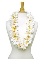 White & Yellow Plumeria Lei
