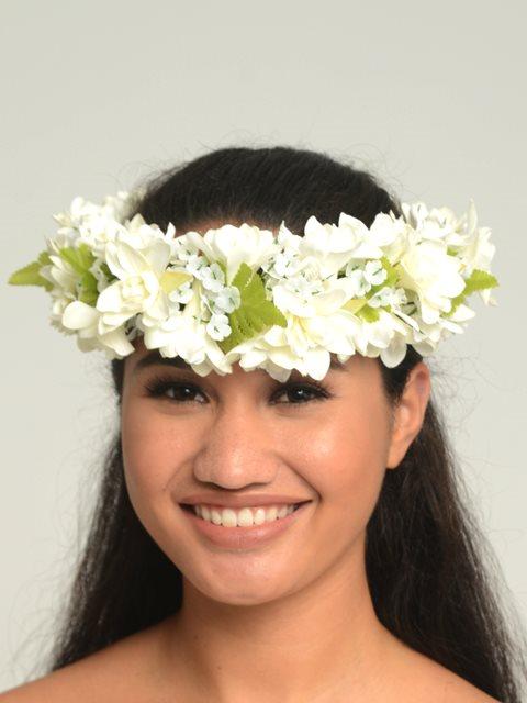 White Tuberose Queen Headband Haku Lei Alohaoutlet
