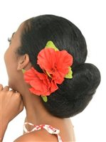 Red Double Large Hibiscus Clip 6""
