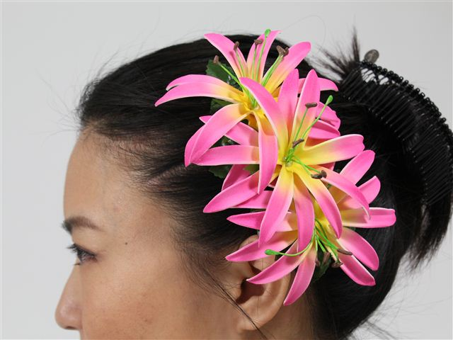 Pink Spider Lily Hair Clip 6.75""