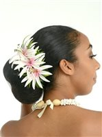 White Spider Lily Hair Clip 6.75""