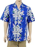 Two Palms Vintage Plumeria Blue Cotton Men's Hawaiian Shirt