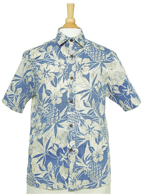 95d9c5dc Pineapple Garden Navy Cotton Men's Reverse Printing Hawaiian Shirt