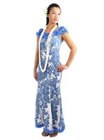 Royal Hawaiian Creations Hibiscus Panel Blue Poly Cotton Hawaiian Nahenahe Ruffle Long Muumuu Dress