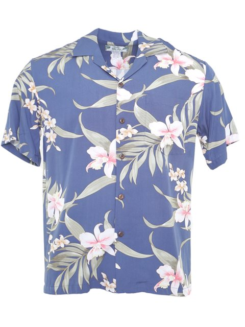 d7b70c83d2 Pali Orchid Blue Rayon Men's Hawaiian Shirt