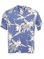 Two Palms Pali Orchid  Blue Rayon Men's Hawaiian Shirt