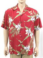 Two Palms Pali Orchid Red Rayon Men's Hawaiian Shirt