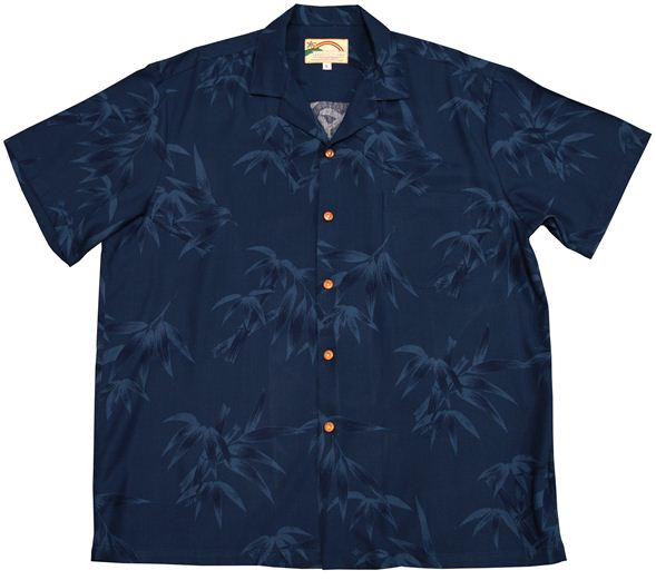 c5da622f864 Paradise Found Bamboo Print Navy Rayon Men s Hawaiian Shirt ...