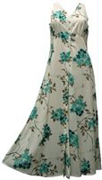 Paradise Found Sakura Cream Rayon Hawaiian Long Dress