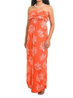 Escapada White Barrier Reef Coral Rayon Strapless Lani Dress