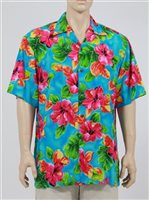 Two Palms Hibiscus Watercolor Blue Rayon Men's Hawaiian Shirt