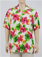 Two Palms Hibiscus Watercolor White Rayon Men's Hawaiian Shirt