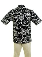 Kahala Duke's Pareo Black Cotton Men's Hawaiian Shirt