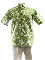 Kahala Duke's Pareo Wasabi Cotton Men's Hawaiian Shirt