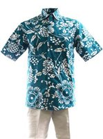 Kahala Duke's Pareo Teal Cotton Men's Hawaiian Shirt