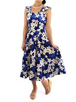 Royal Hawaiian Creations Plumeria Blue Cotton Hawaiian Midi Sundress