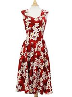 Royal Hawaiian Creations Plumeria Red Cotton Hawaiian Midi Sundress