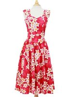 Royal Hawaiian Creations Plumeria Pink Cotton Hawaiian Midi Sundress