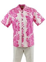 Royal Hawaiian Creations Hibiscus Panel Pink Poly Cotton Men's Hawaiian Shirt