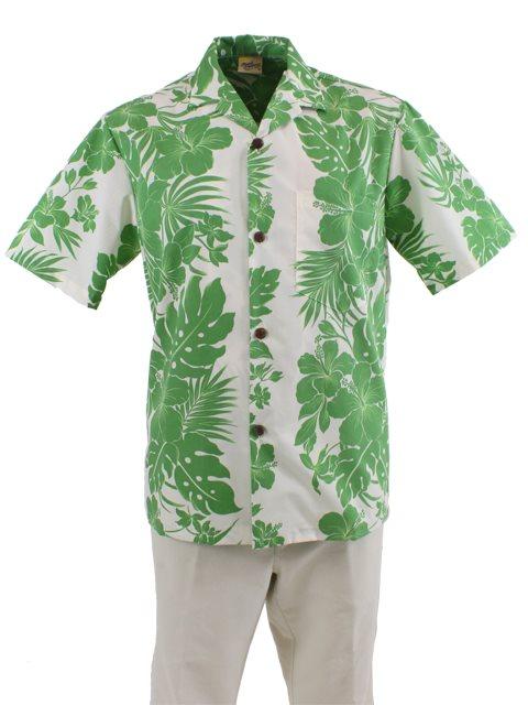 b02711e182b Royal Hawaiian Creations Hibiscus Panel Green Poly Cotton Men s ...