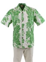 Royal Hawaiian Creations Hibiscus Panel Green Poly Cotton Men's Hawaiian Shirt