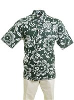 Kahala Duke's Pareo Island Green Cotton Men's Hawaiian Shirt