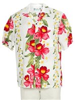 Two Palms Orchid & Plumeria White Rayon Men's Hawaiian Shirt