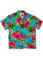 Two Palms Hibiscus Watercolor Blue Rayon Boys Hawaiian Shirt