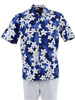 Royal Hawaiian Creations Plumeria Blue Cotton Men's Hawaiian Shirt
