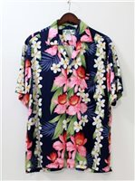 Two Palms Orchid & Plumeria Navy Rayon Men's Hawaiian Shirt