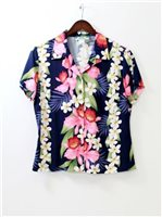 Two Palms Orchid & Plumeria Navy Rayon Women's Hawaiian Shirt